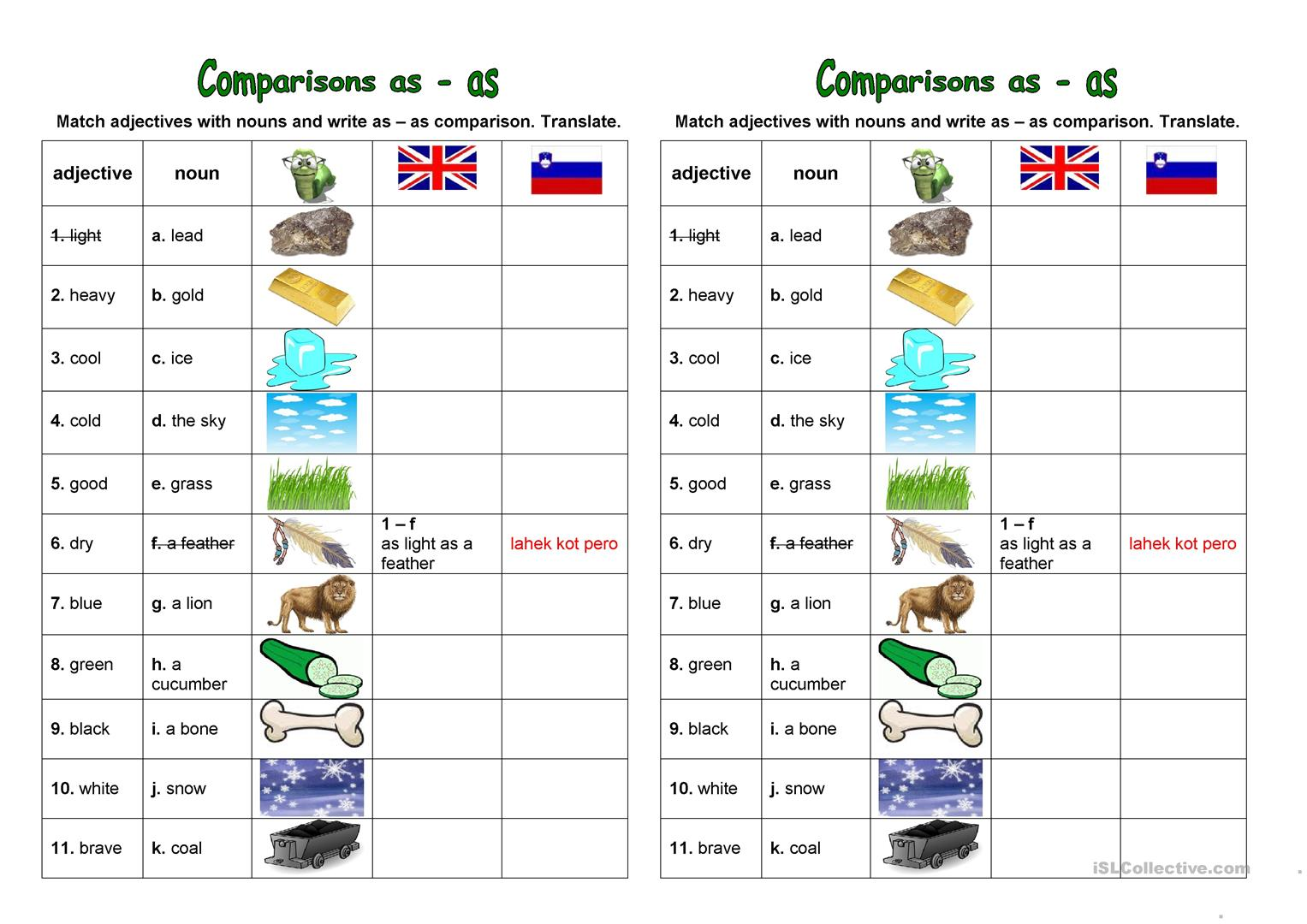As As Comparison Worksheet