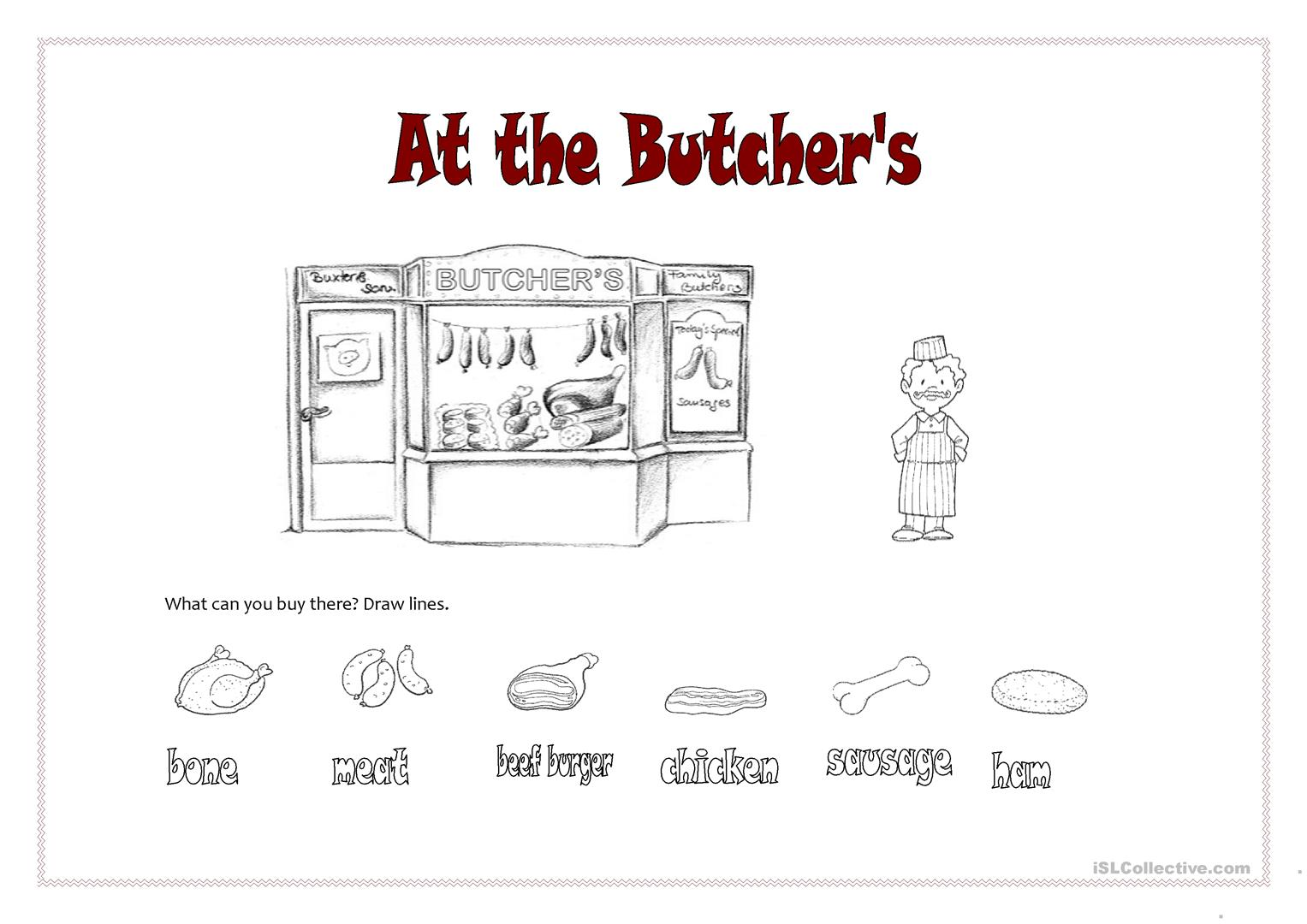 At The Butcher S Worksheet
