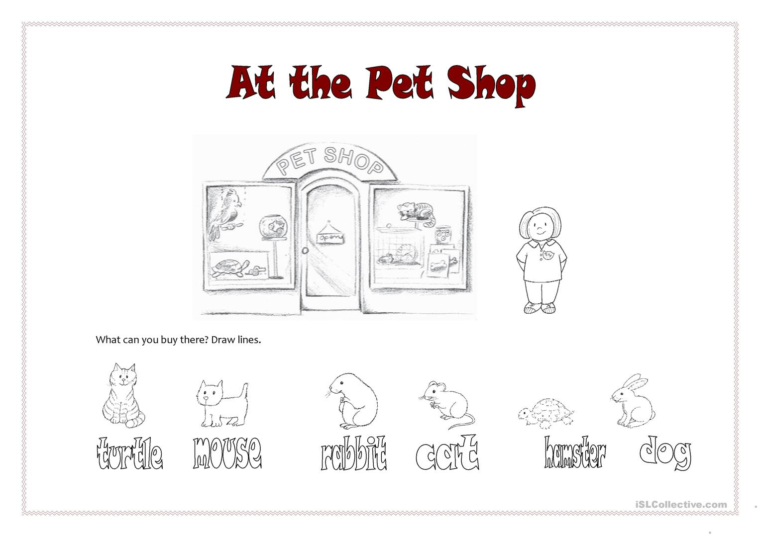 At The Pet Shop Worksheet