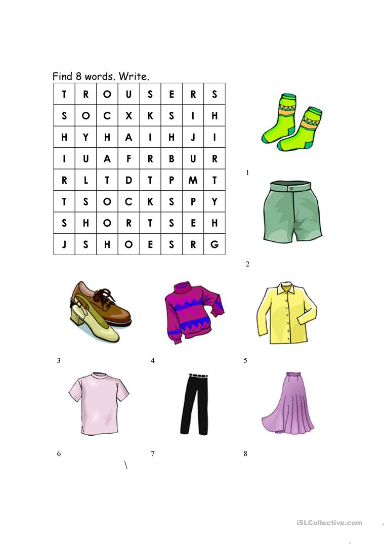 Clothing Worksheet Match And Wordsearch Worksheet