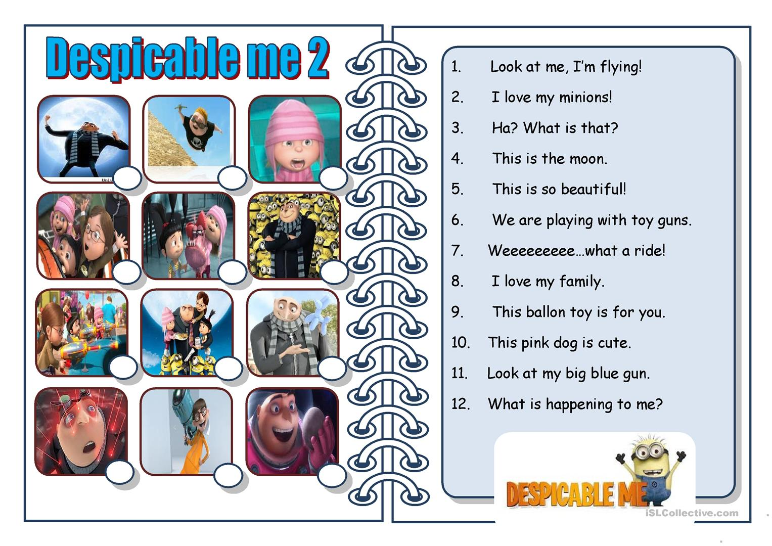 Despicable Me 2 Worksheet