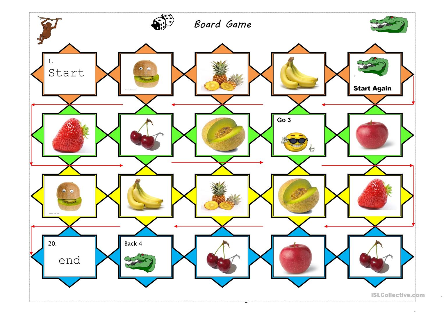 Fruits Board Game Worksheet