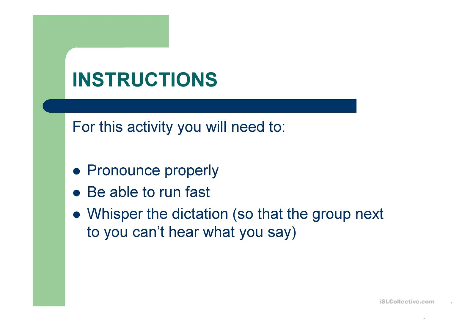 Running Dictation Esl Worksheet