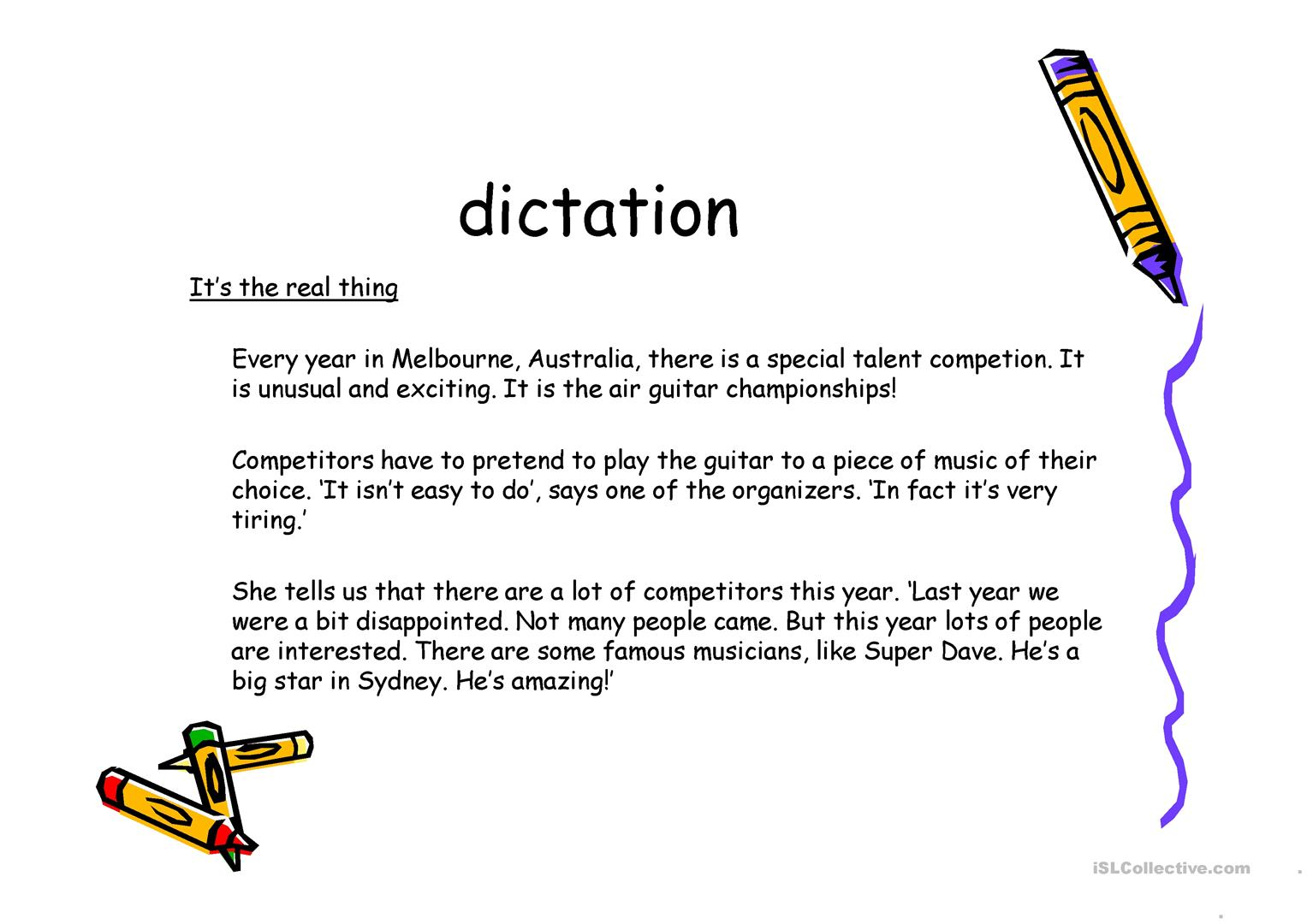 Running Dictation Worksheet