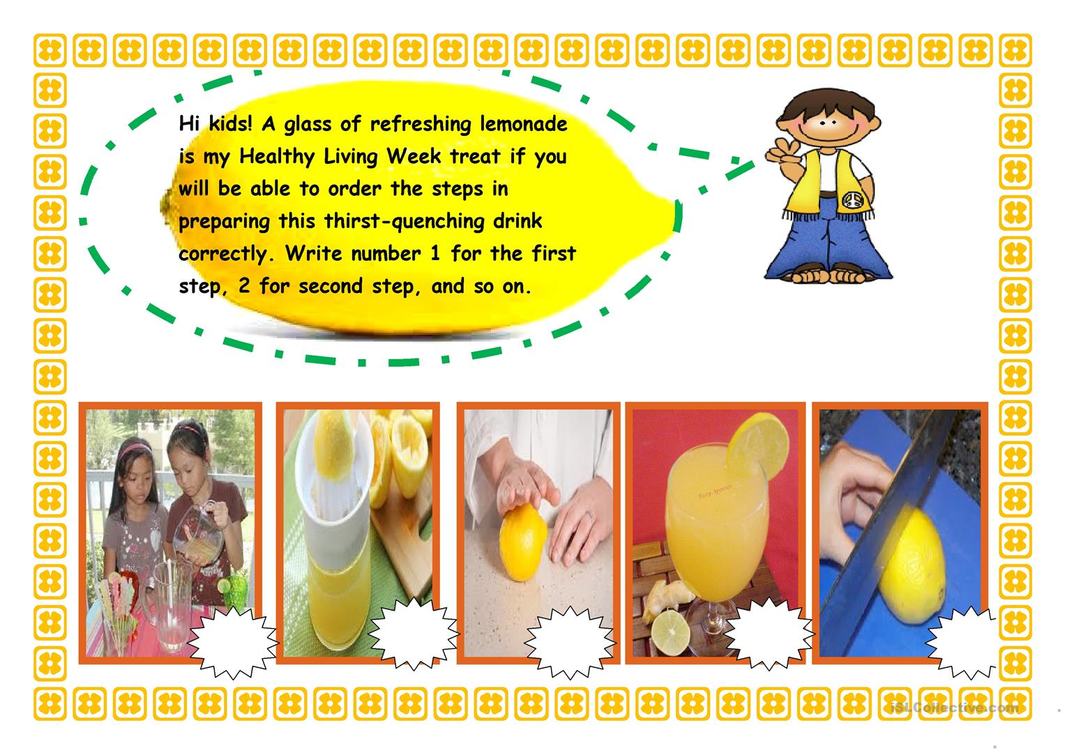 Sequencing Activity Preparing A Lemonade Worksheet