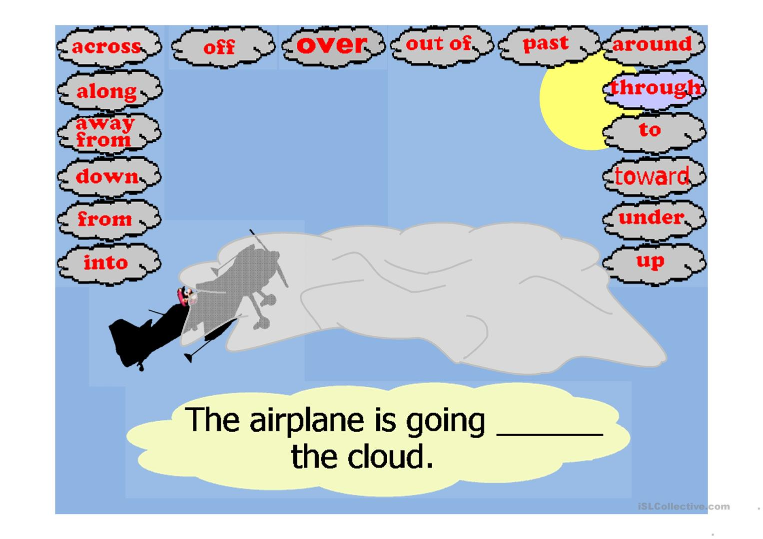 Stunt Airplane Prepositions Of Movement Game Worksheet
