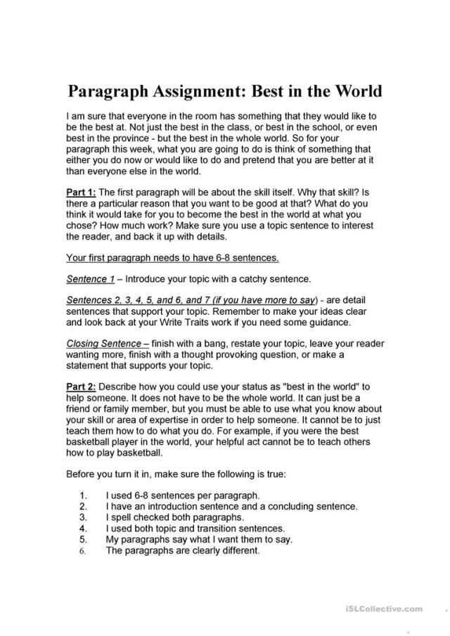 best in the world paragraph writing - English ESL Worksheets for