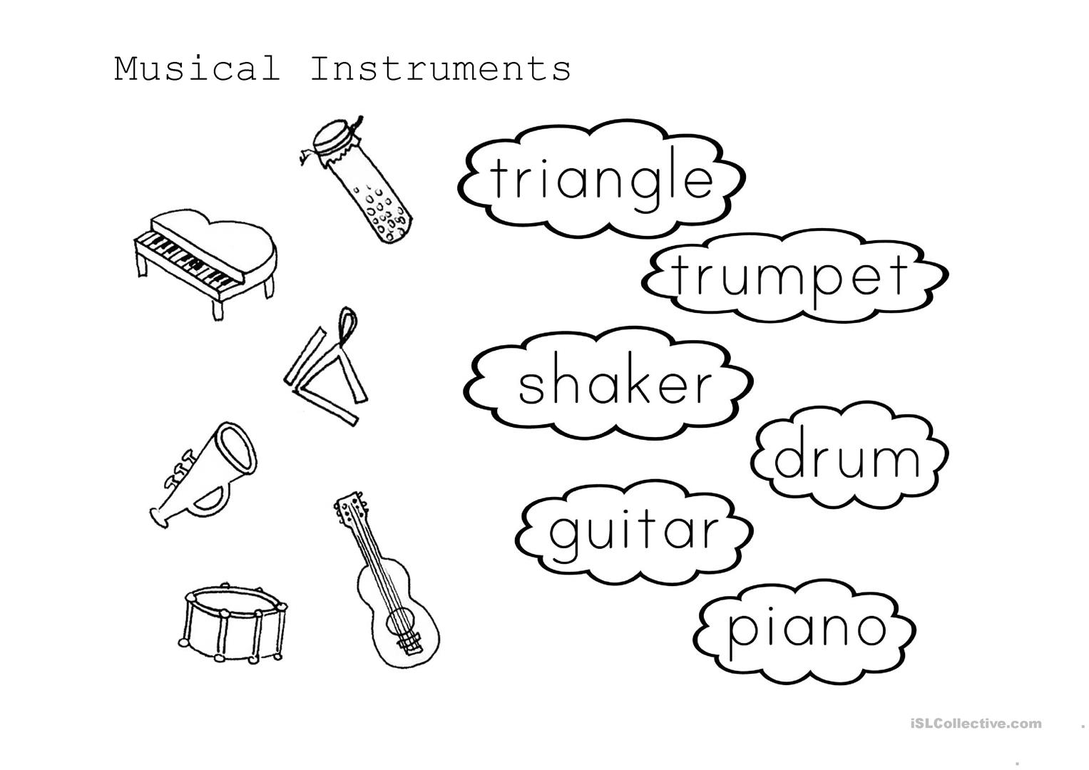 Musical Instrument Match Worksheet