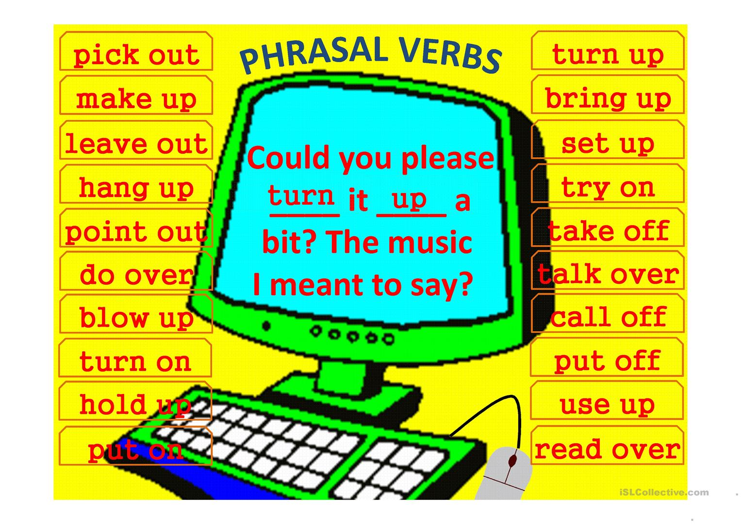 Phrasal Verbs Computer Game Template Worksheet