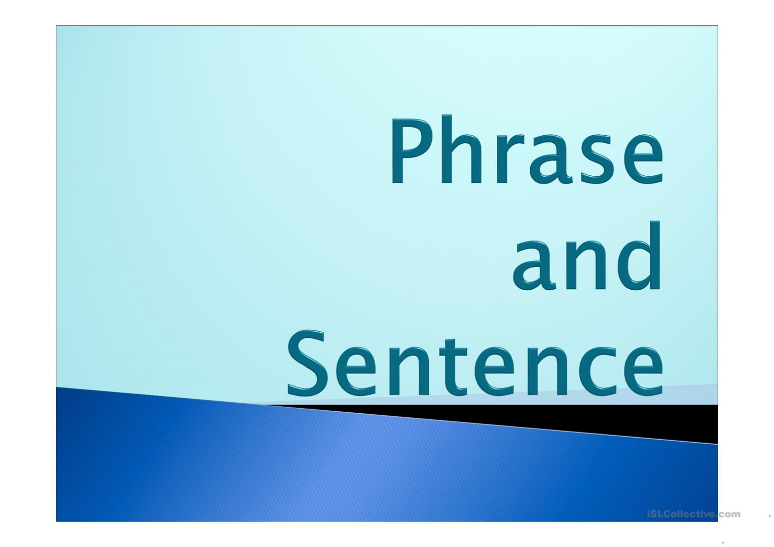 Phrase And Sentence Worksheet