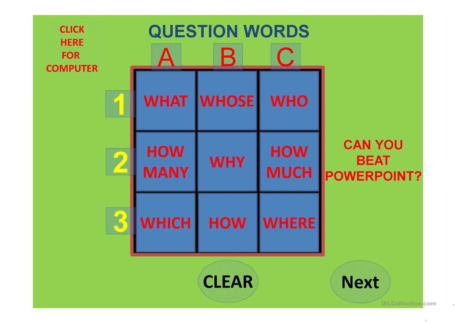 Question Words Tic Tac Toe Against The Computer Part 2