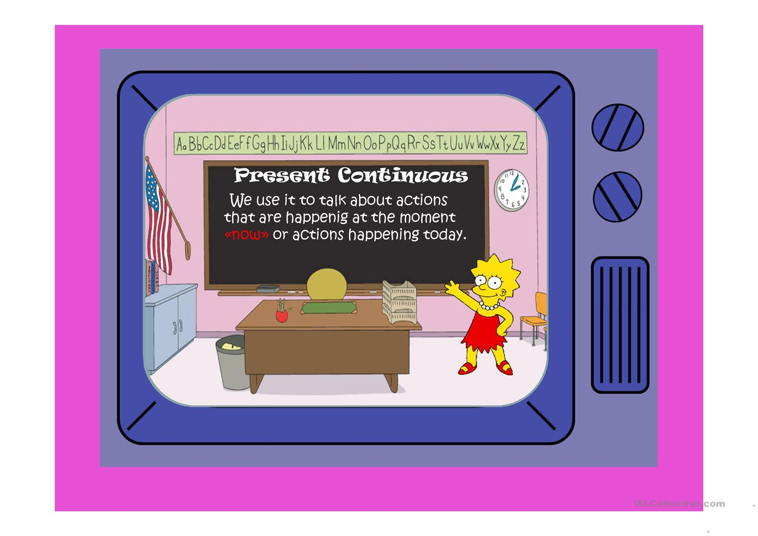 The Simpsons Present Continuous Part 1 Worksheet