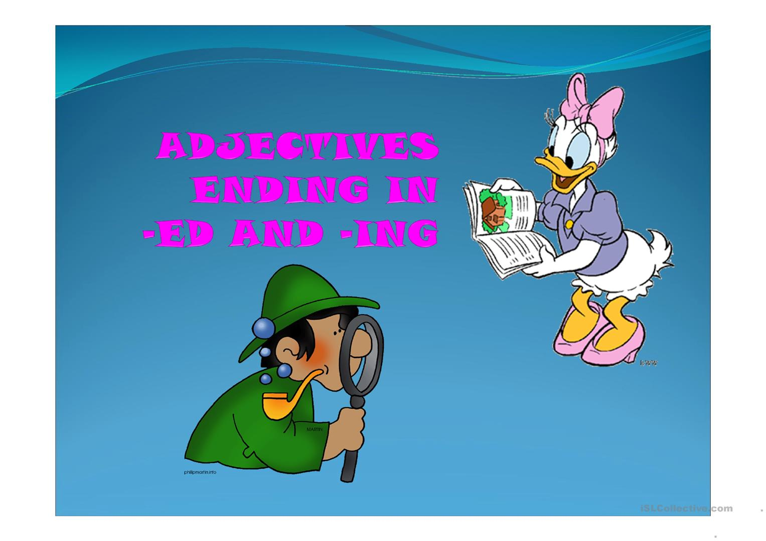 Adjectives Ending In Ed And Ing Worksheet