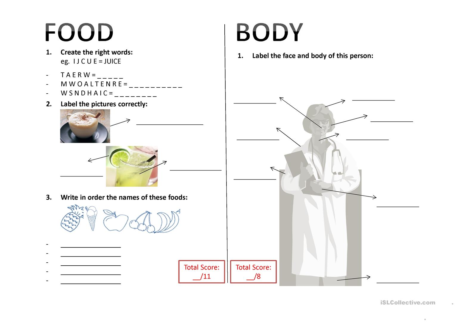 Body Amp Food Worksheet Worksheet