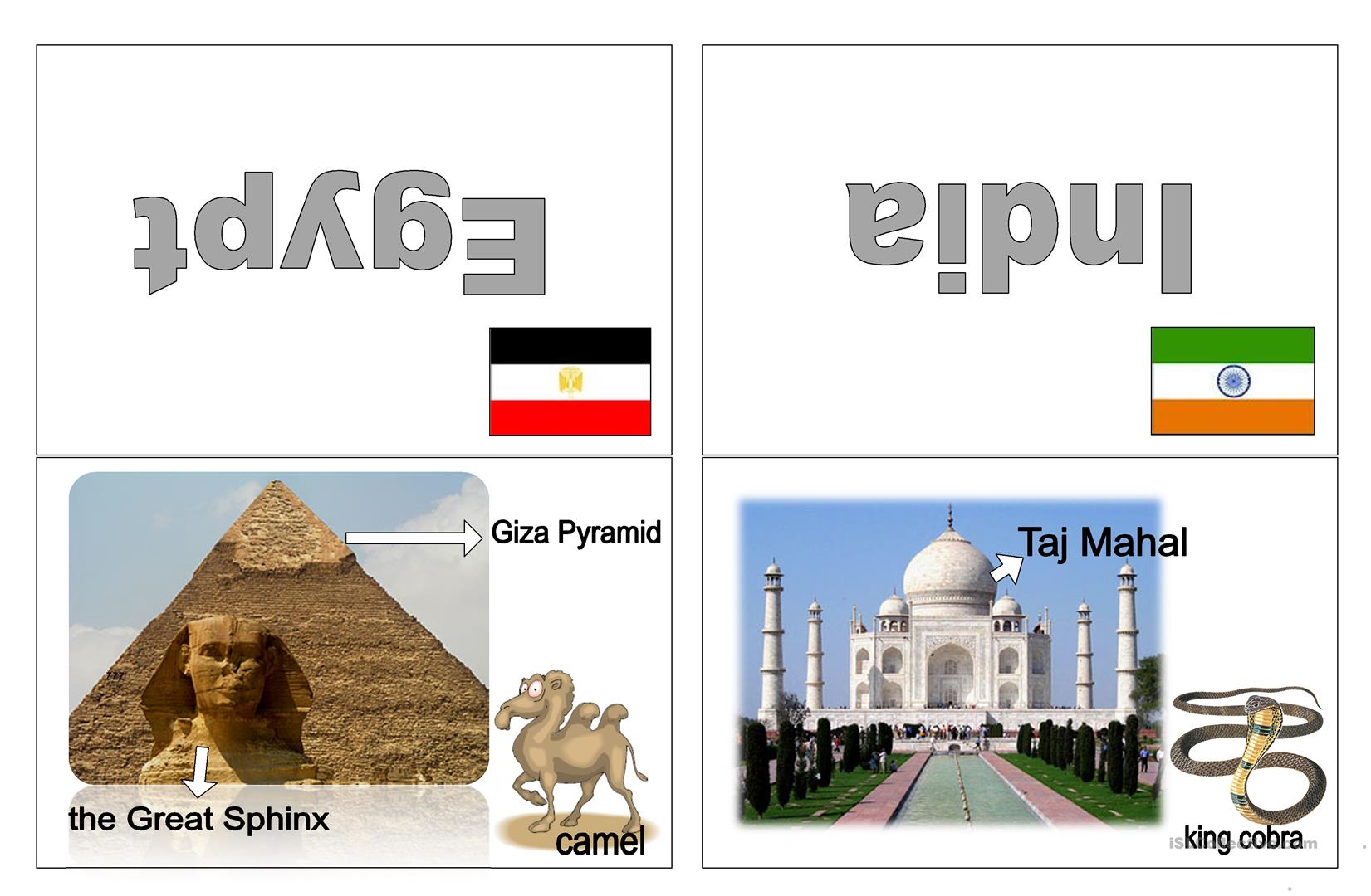Most Famous Landmarks And Animals Worksheet