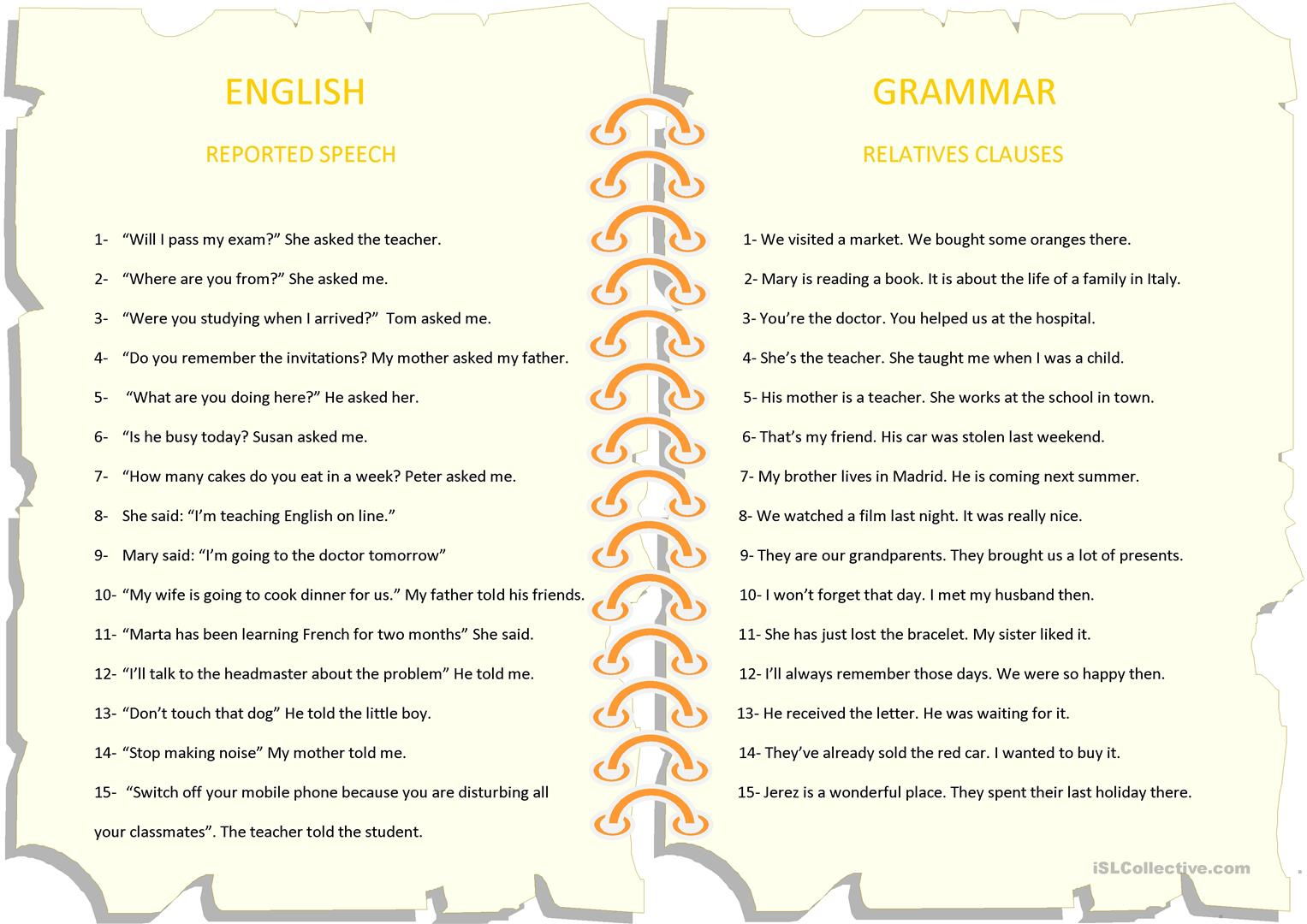 Reported Speech And Relative Clauses Worksheet