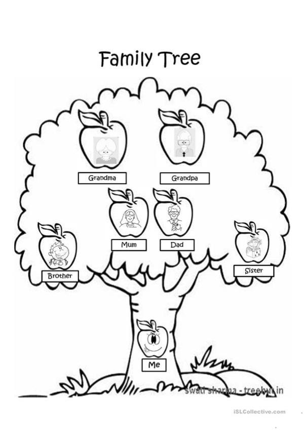family tree coloring page # 9