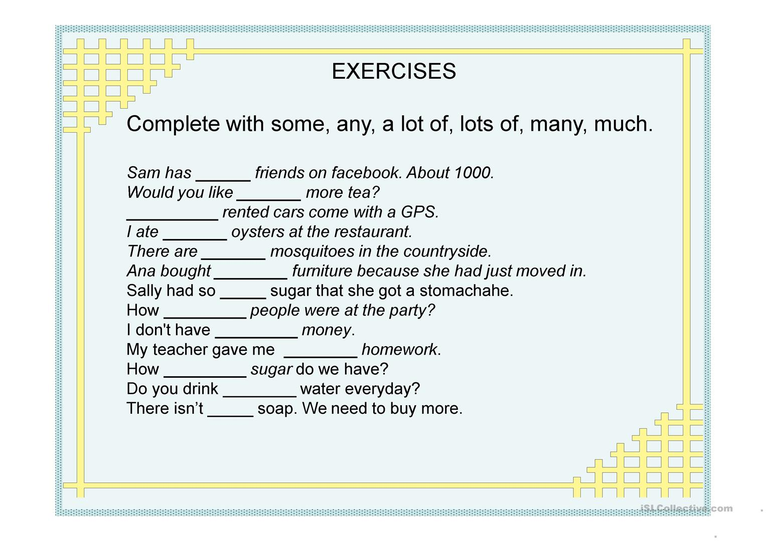 A Lot Of Some Any Much Many Worksheet
