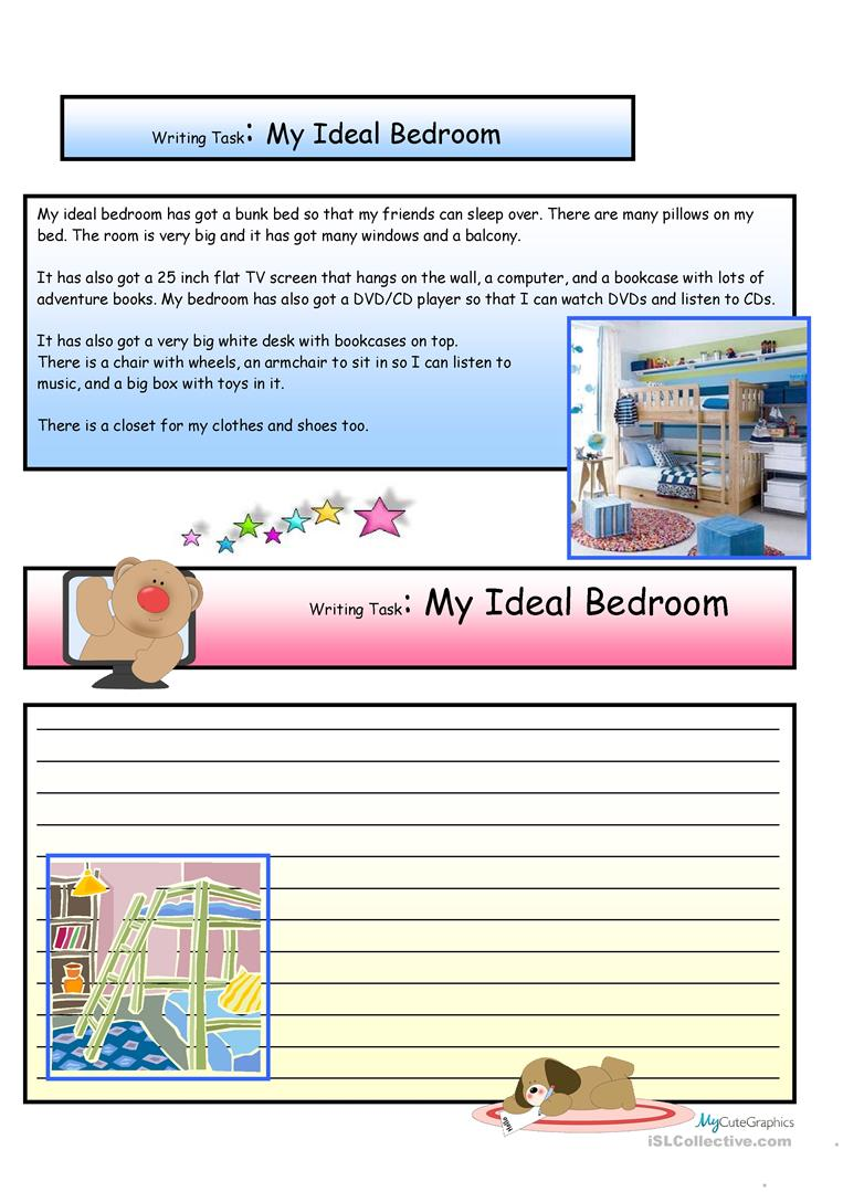 Creative Writing My Ideal Bedroom 7 A1 Level Worksheet
