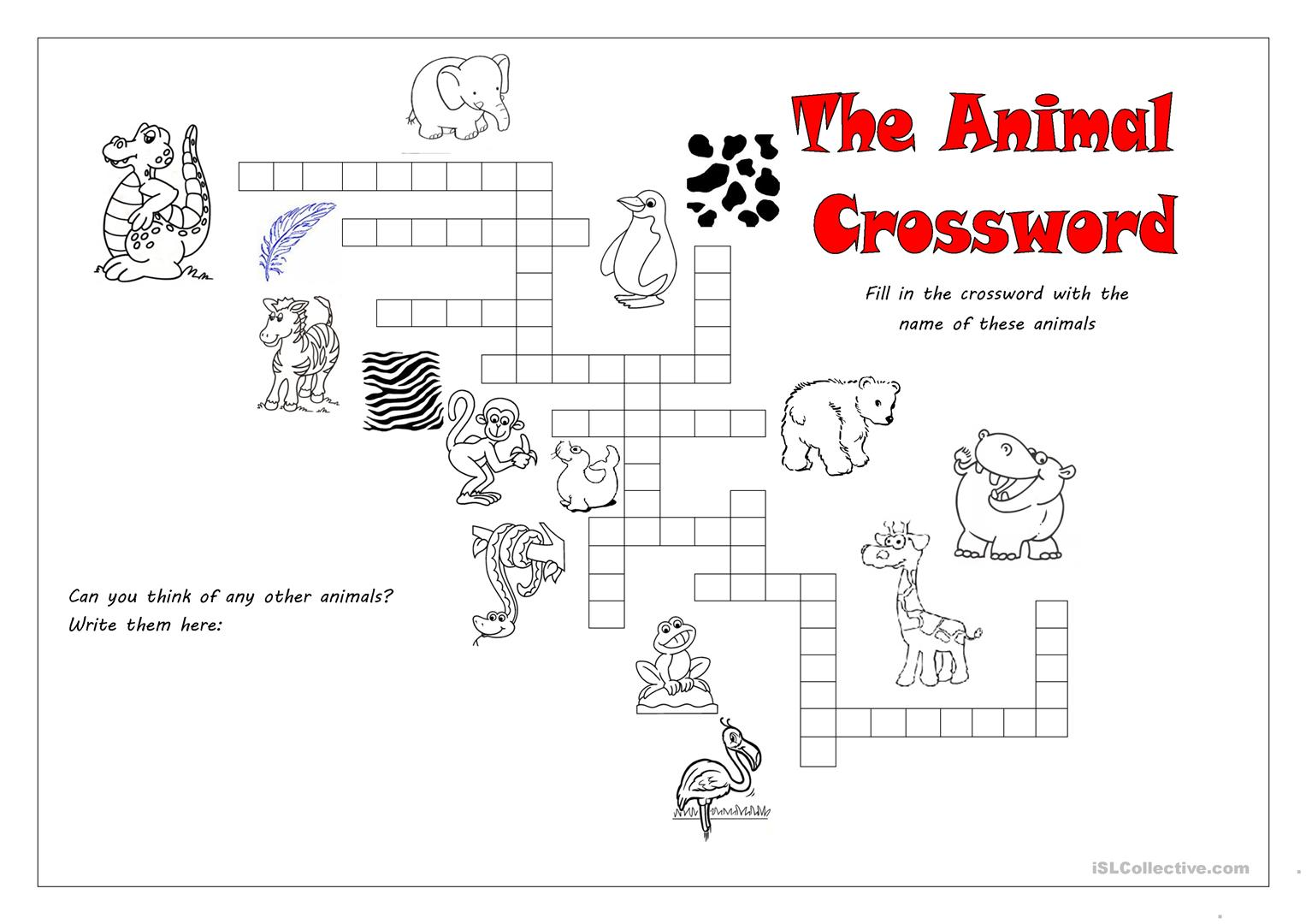 Crosswords Animals Worksheet