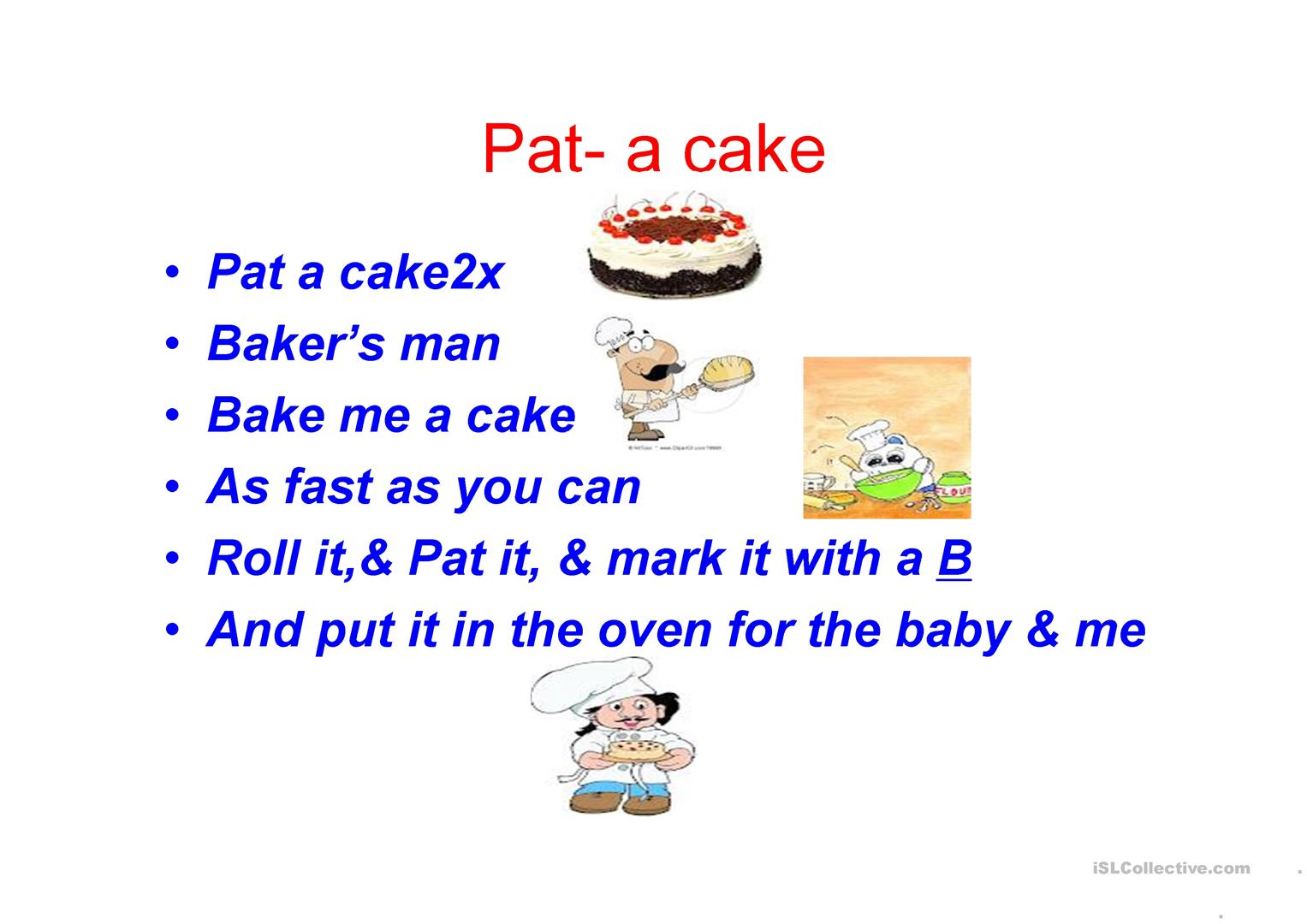 Pat A Cake Nursery Rymes With Pictures Worksheet