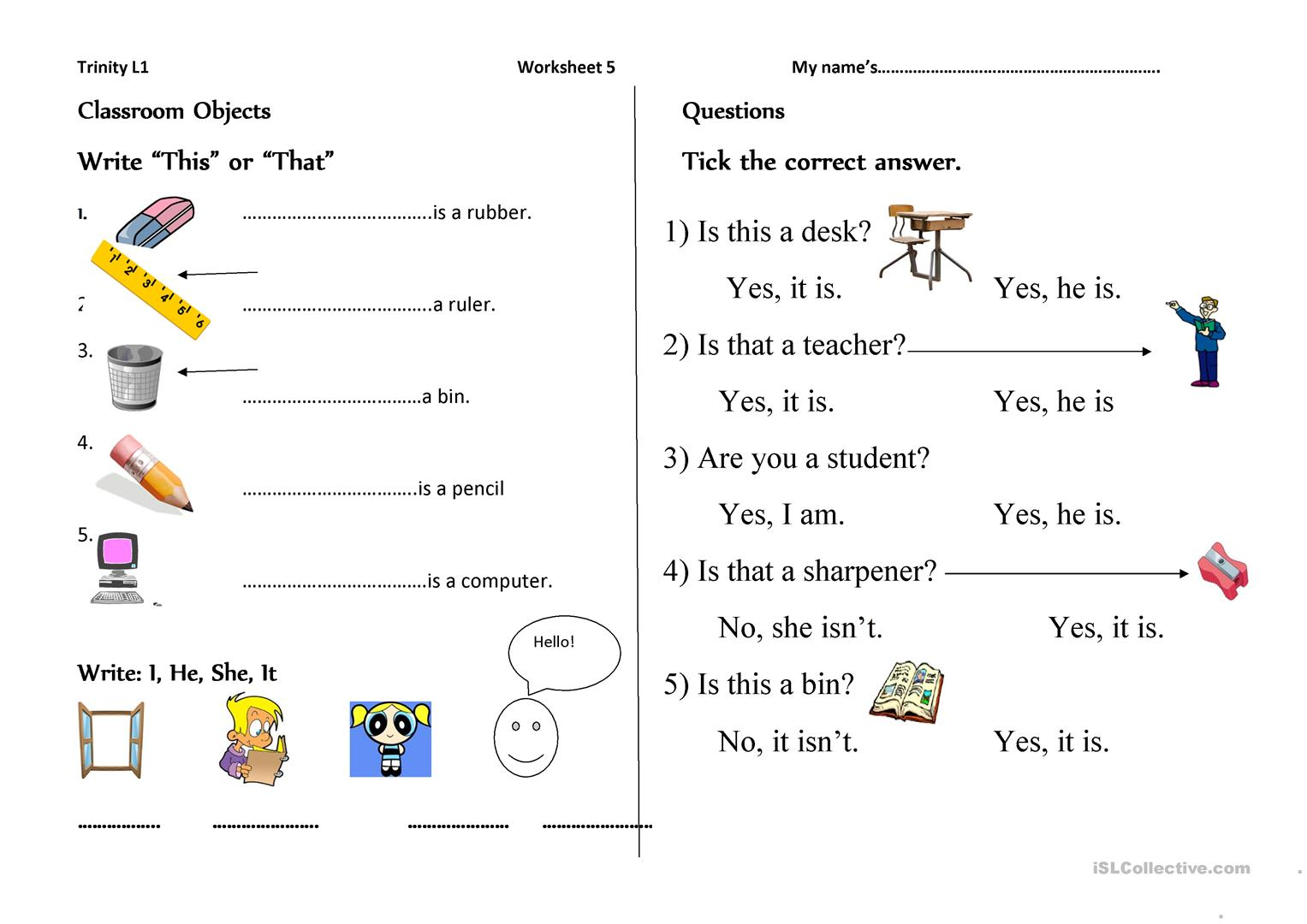 Trinity Level 1 Worksheet