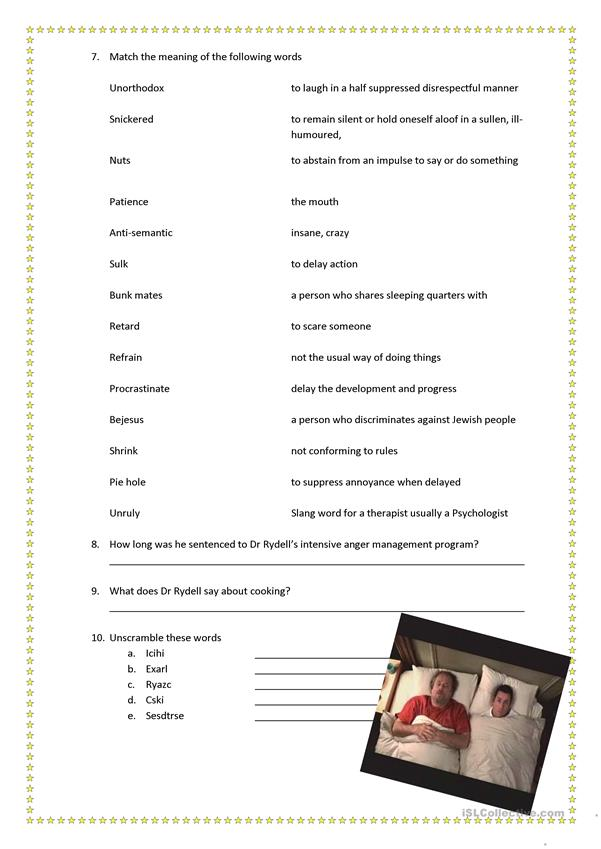 Anger Management Movie Worksheet