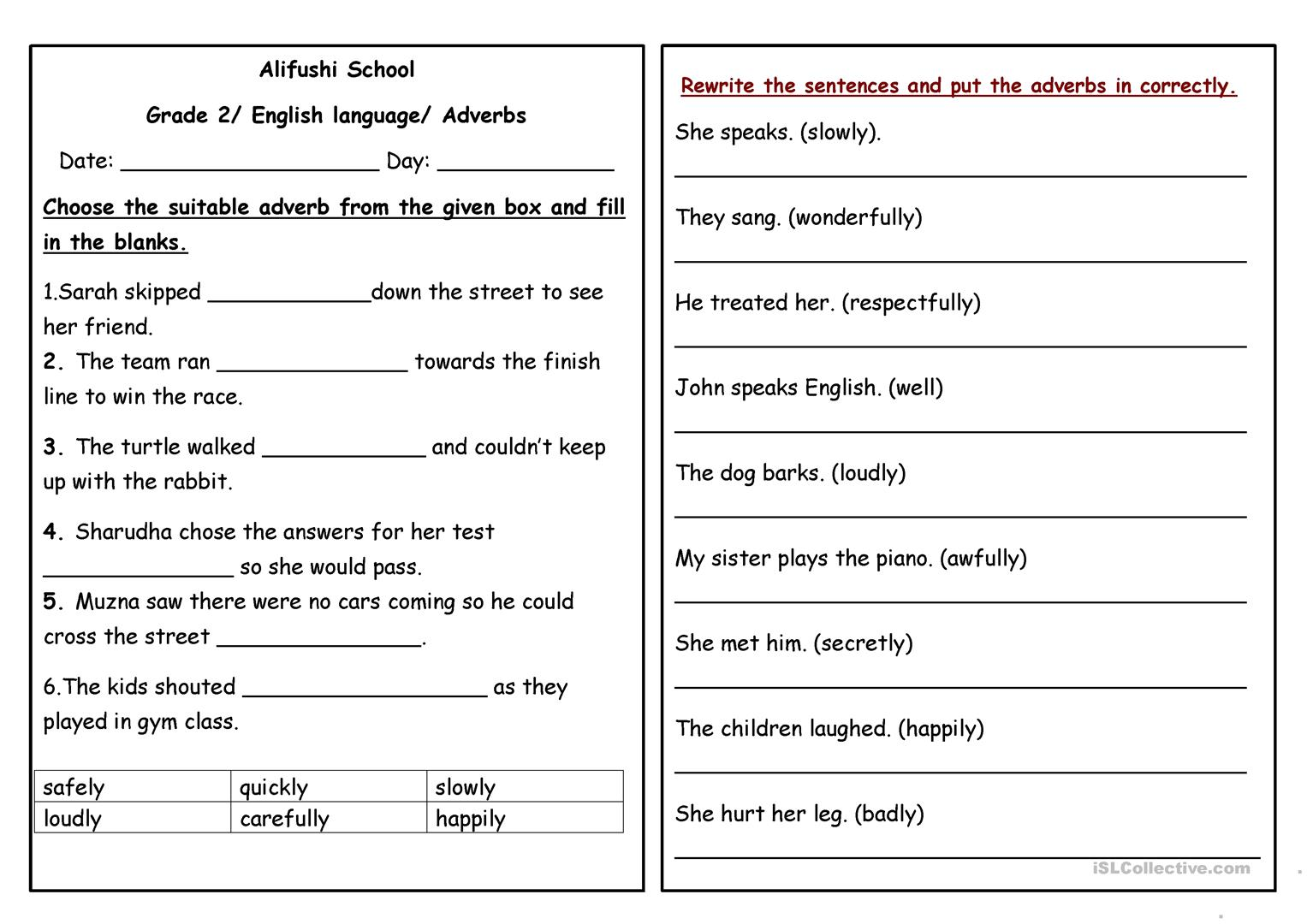 Degrees Of Adverbs Worksheets For Grade 5