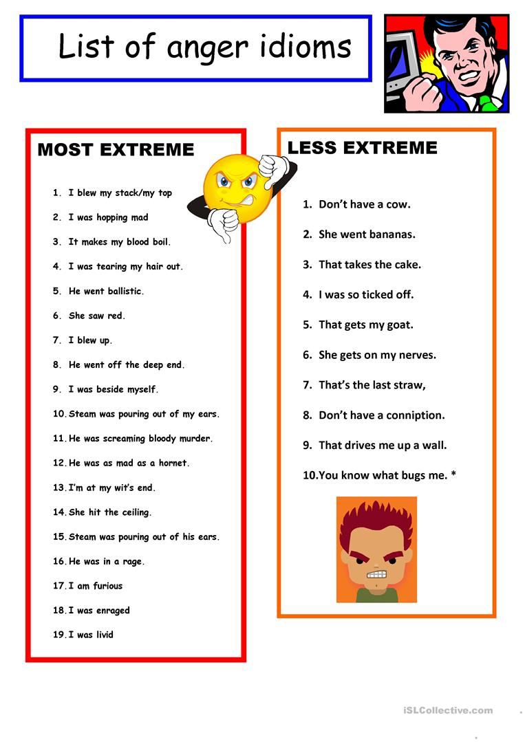 Idioms For Anger Quiz B Amp W Key Worksheet