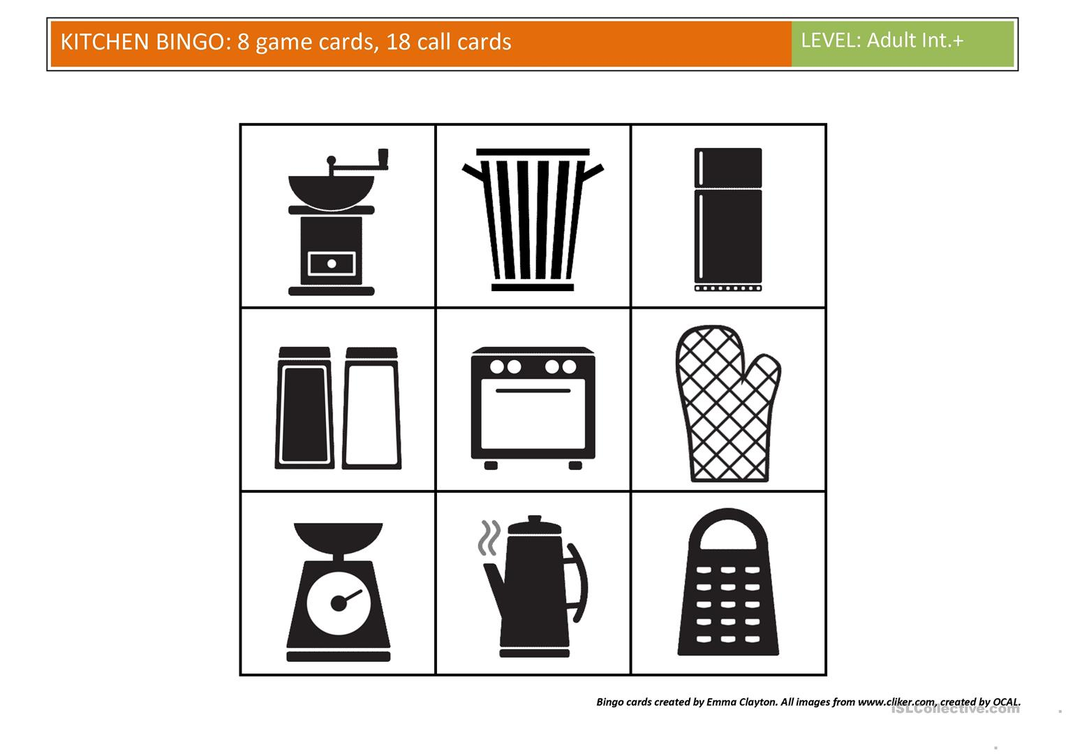 Kitchen Bingo Worksheet