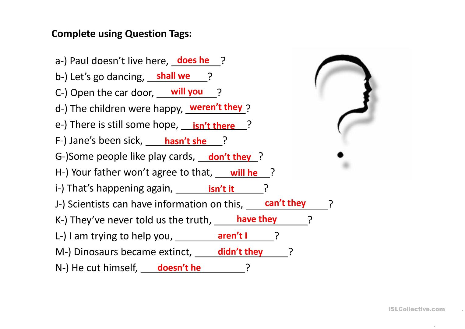 Question Tags Exercises Worksheet