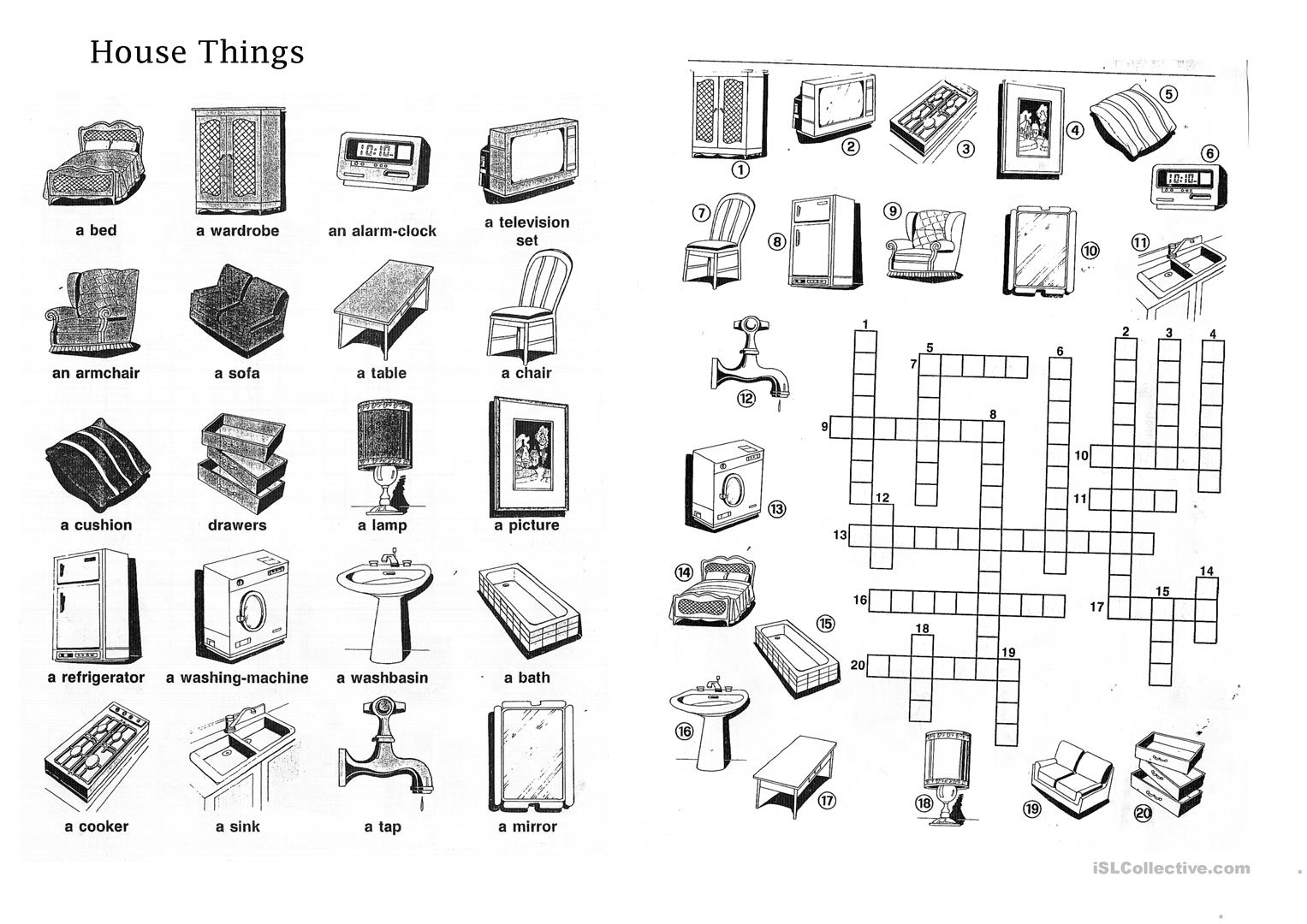 The House And House Things Worksheet