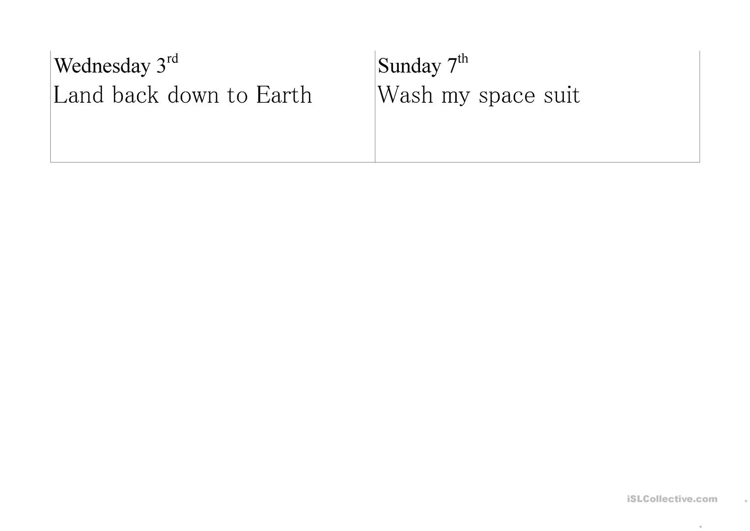 Astronaut Diary Worksheet