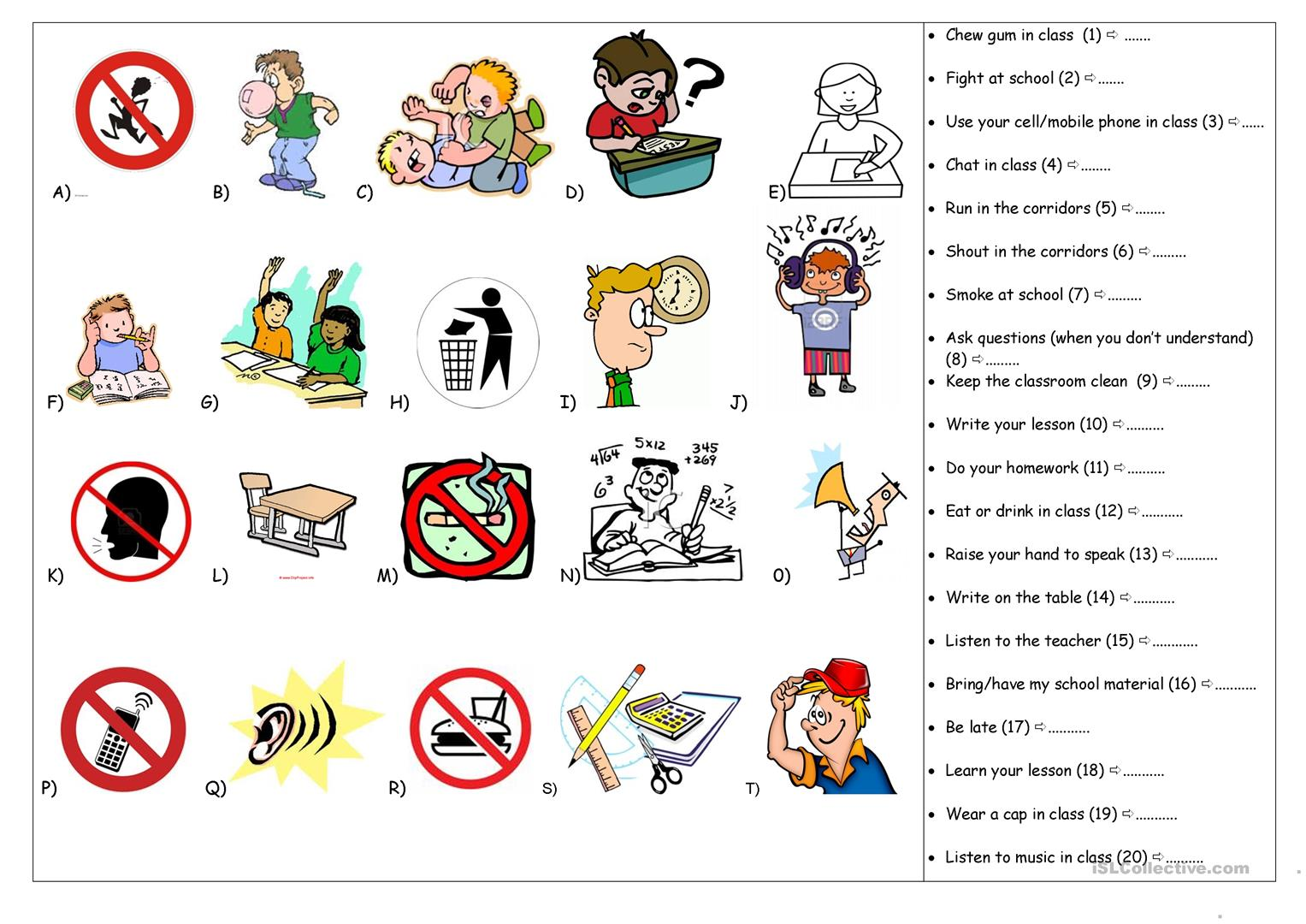 School Rules Worksheet