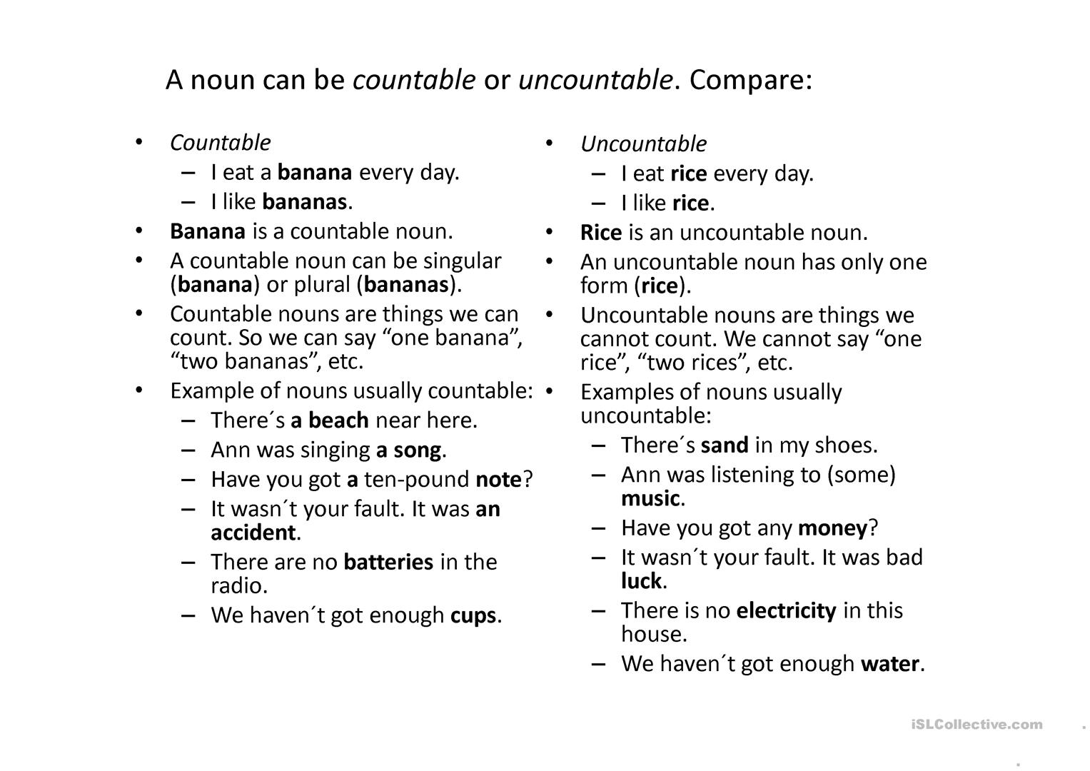 Countable Or Uncountable Nouns Worksheet