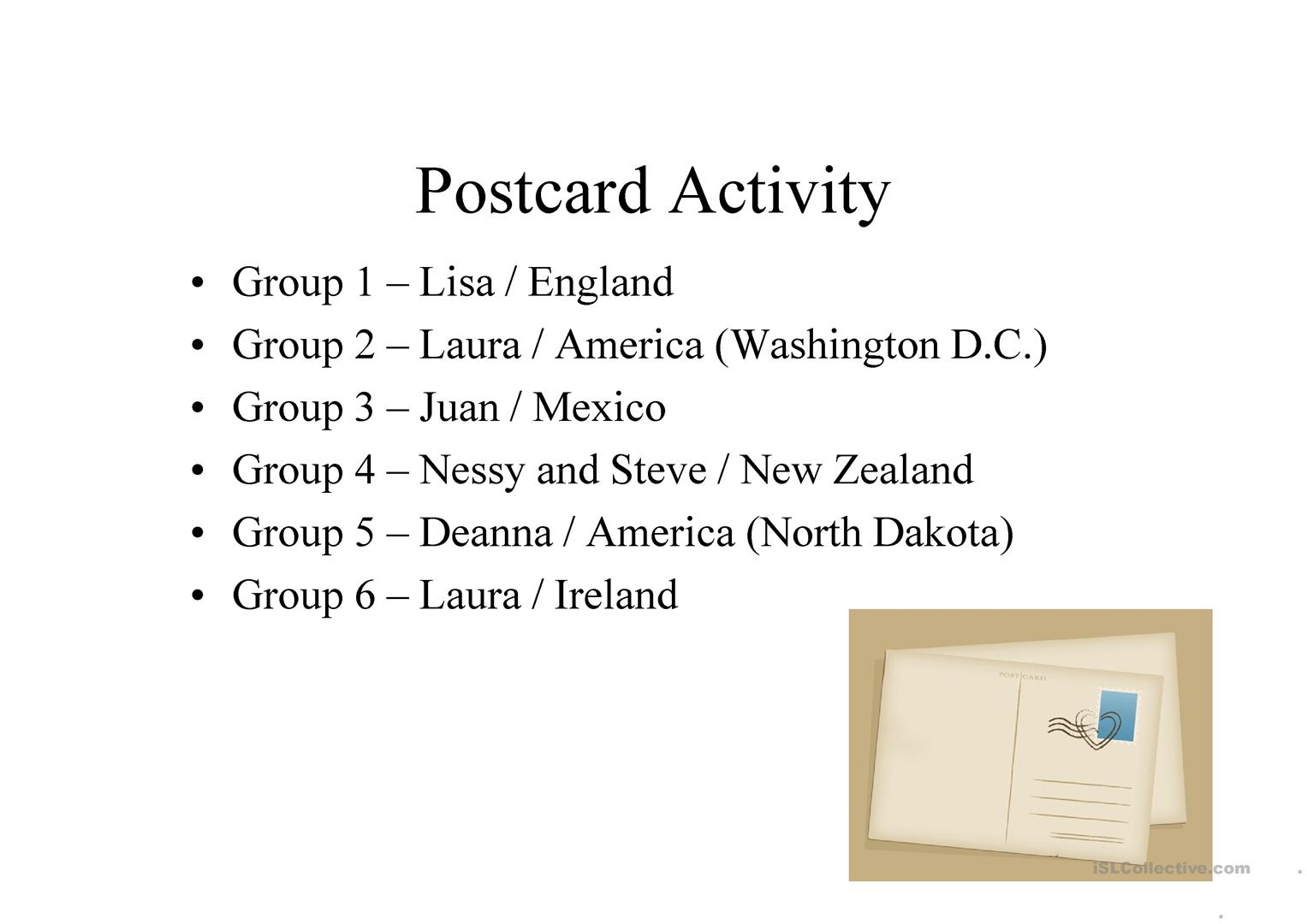 Pen Pal Postcard Worksheet
