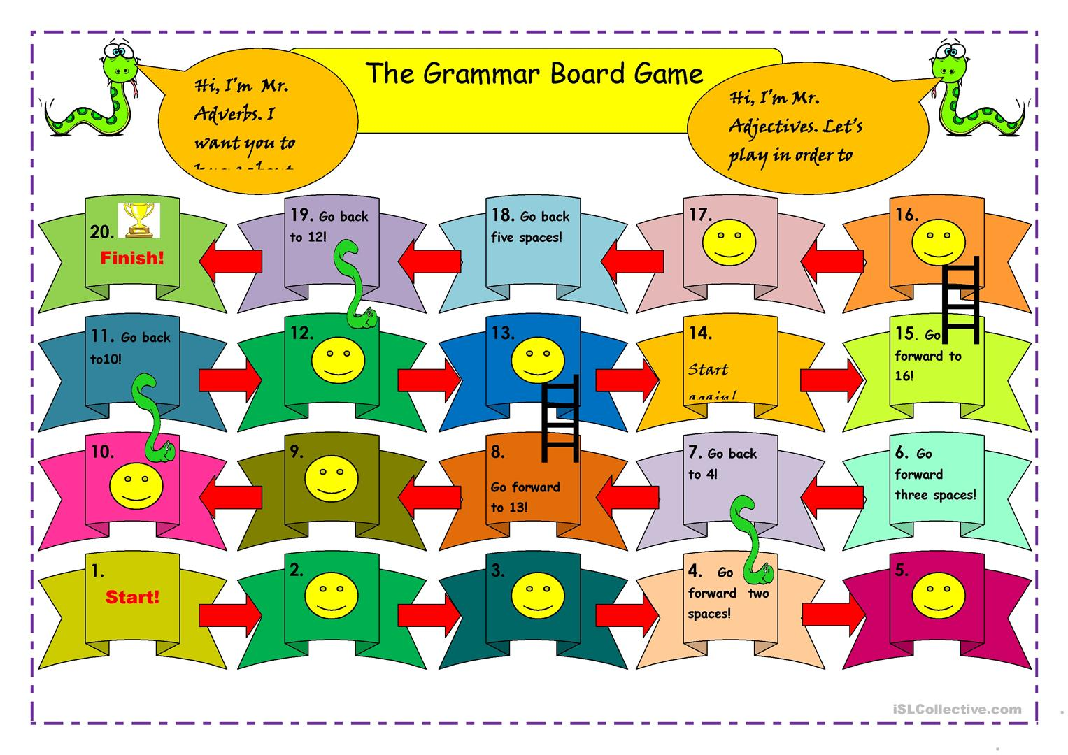 Snakes Amp Ladder Board Game Worksheet