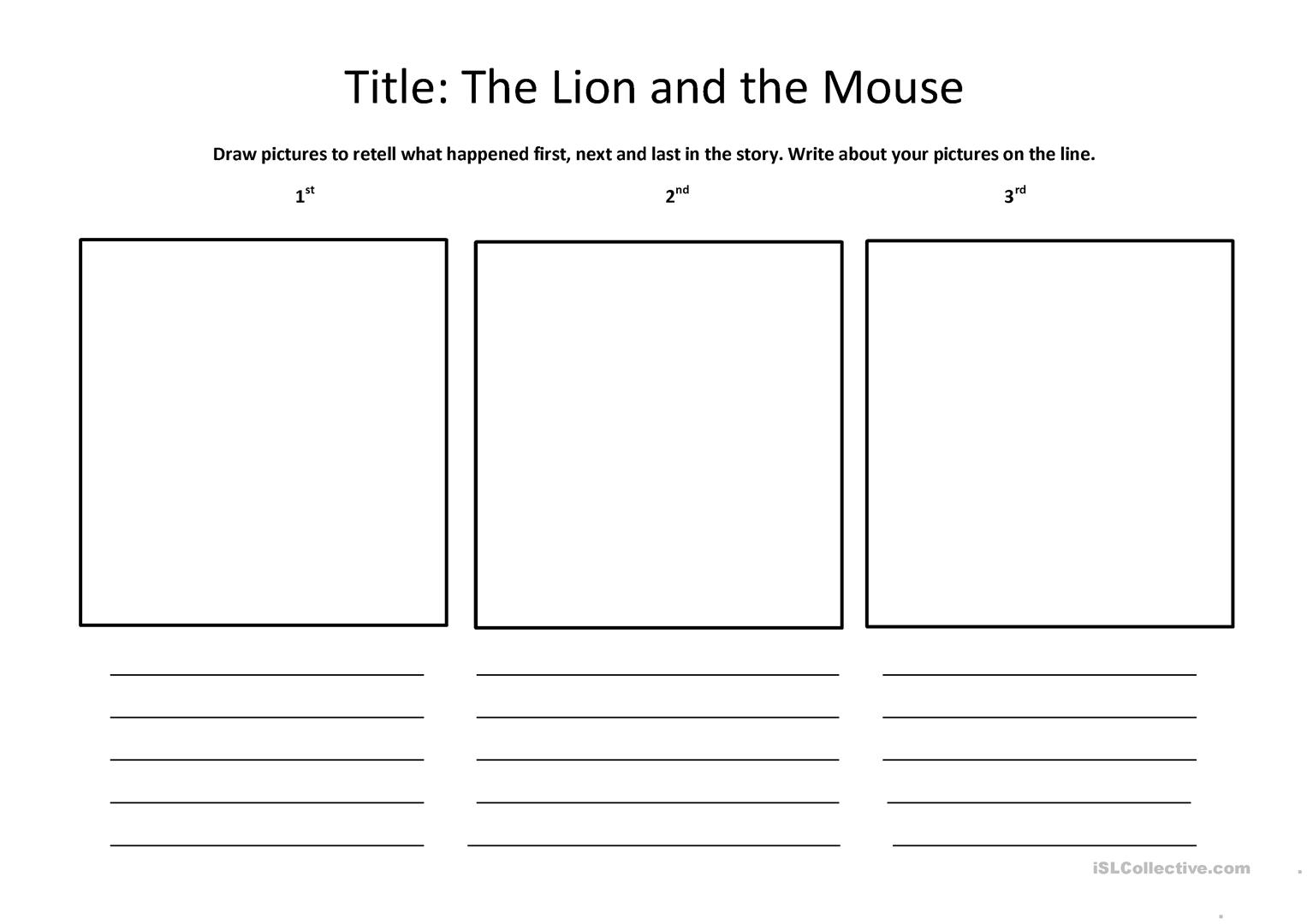The Lion And The Mouse Worksheet