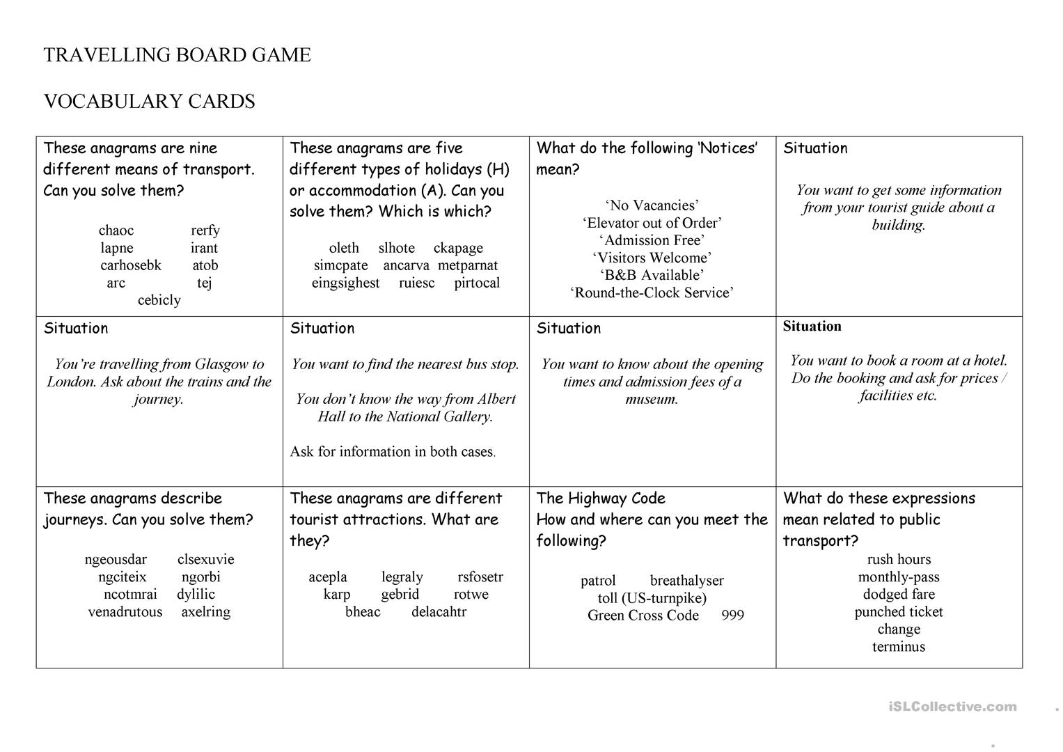 Travelling Board Game Worksheet