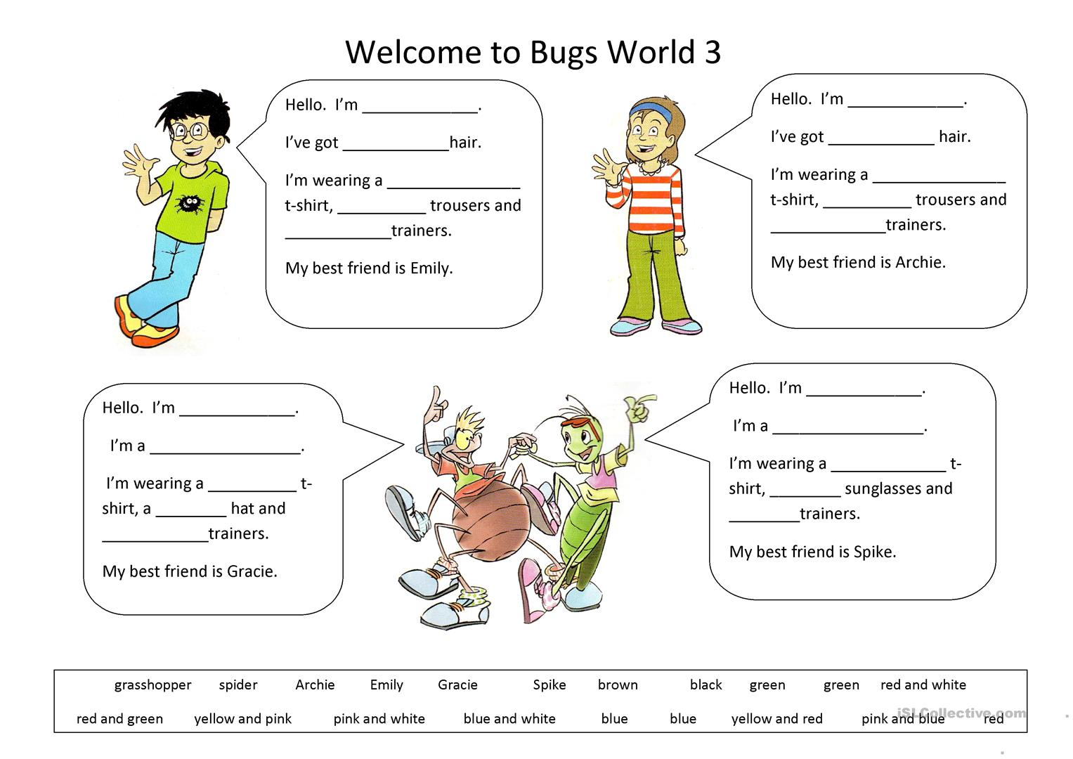 Welcome To Bugs World 3 Worksheet