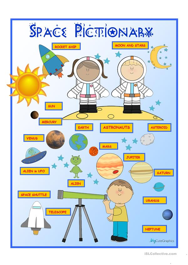 Space Pictionary Poster Worksheet