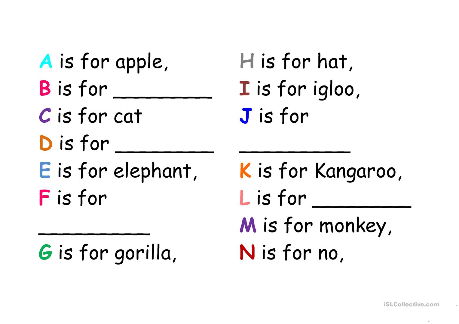 Alphabet Song Worksheet