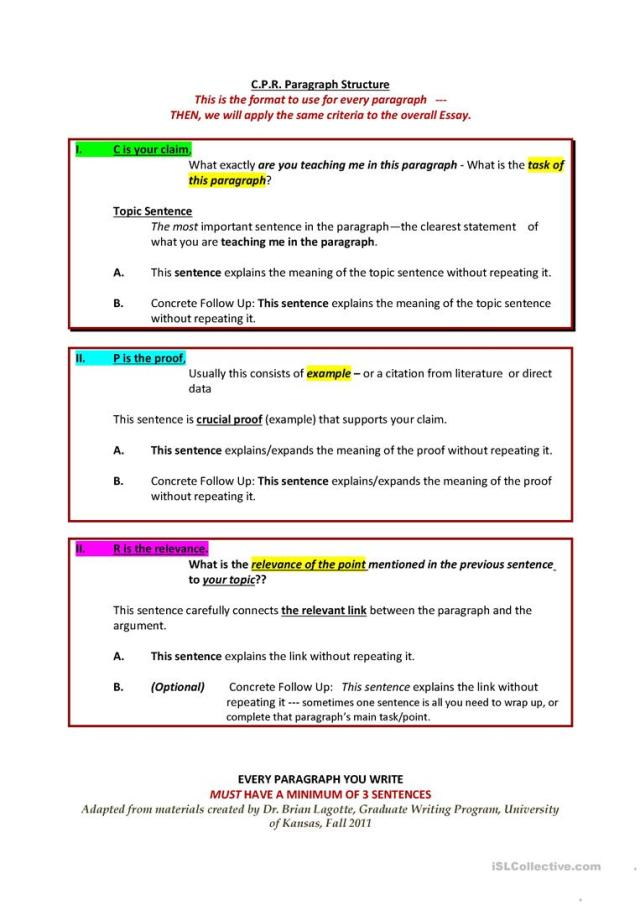 CPR Paragraph - and Essay - Structure - English ESL Worksheets for