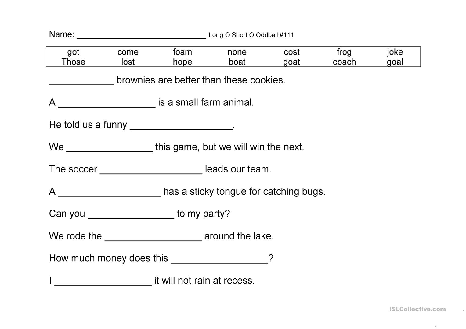 Long O Short O Oddball Sentences Worksheet
