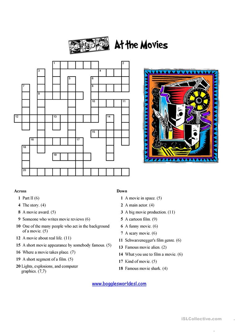 Movies Crossword Worksheet