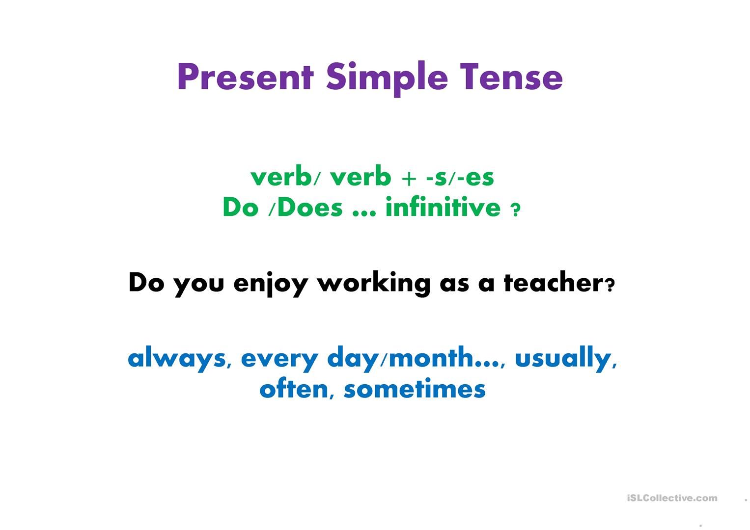 Present And Past Tenses Revision