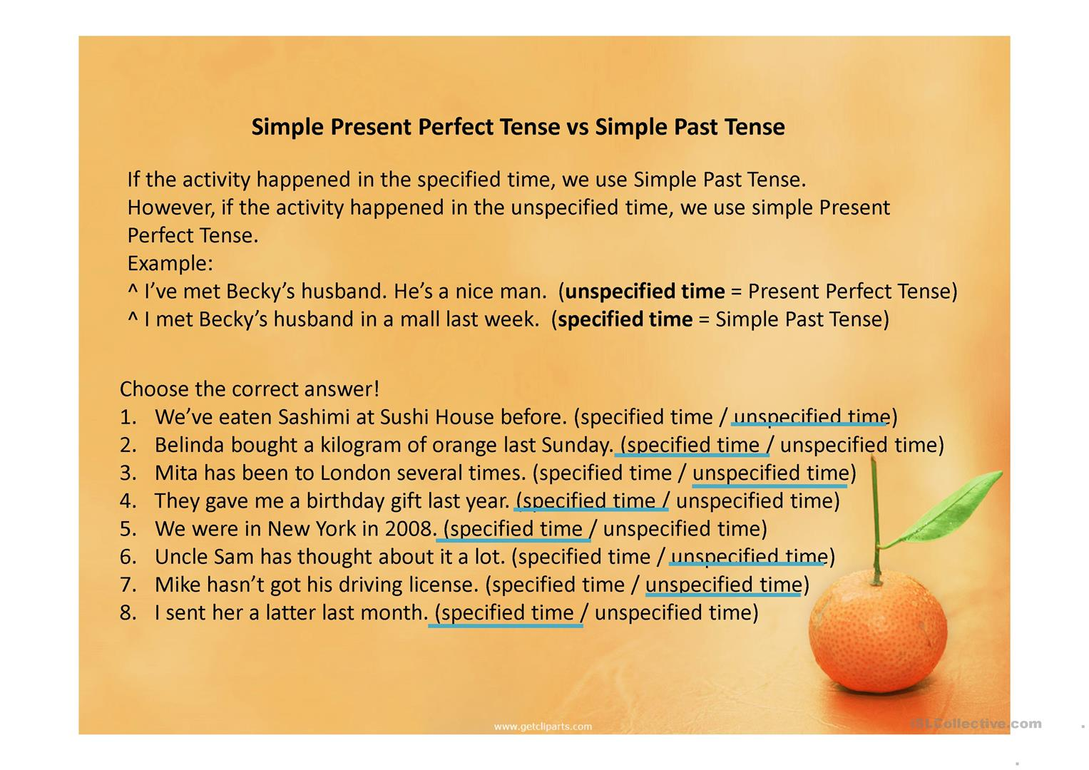 Present Perfect Tense Vs Simple Past Tense Worksheet
