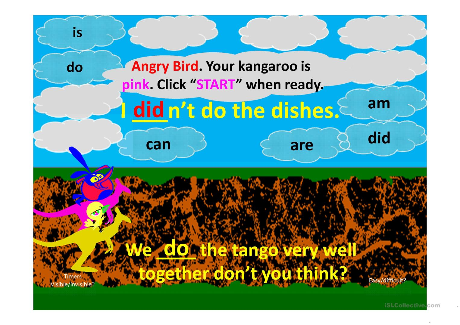 Aux Verbs Ppt Angry Bird Kangaroo Race Game For Two Teams Worksheet