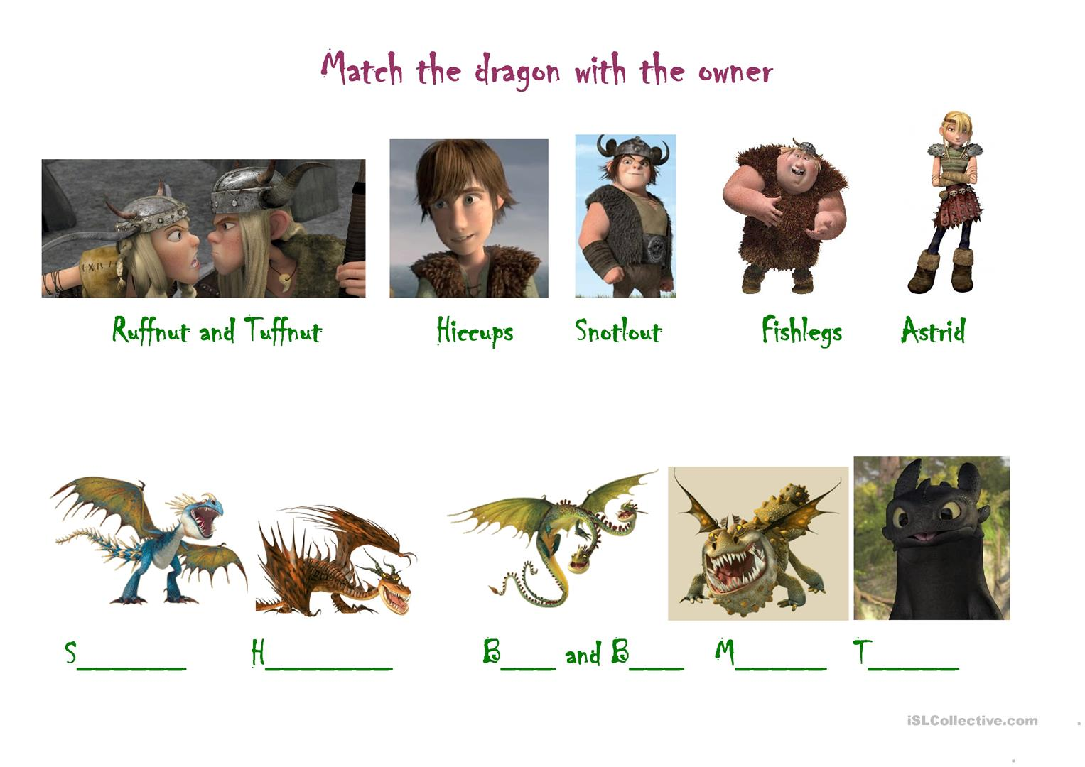 How To Train Your Dragon Worksheet