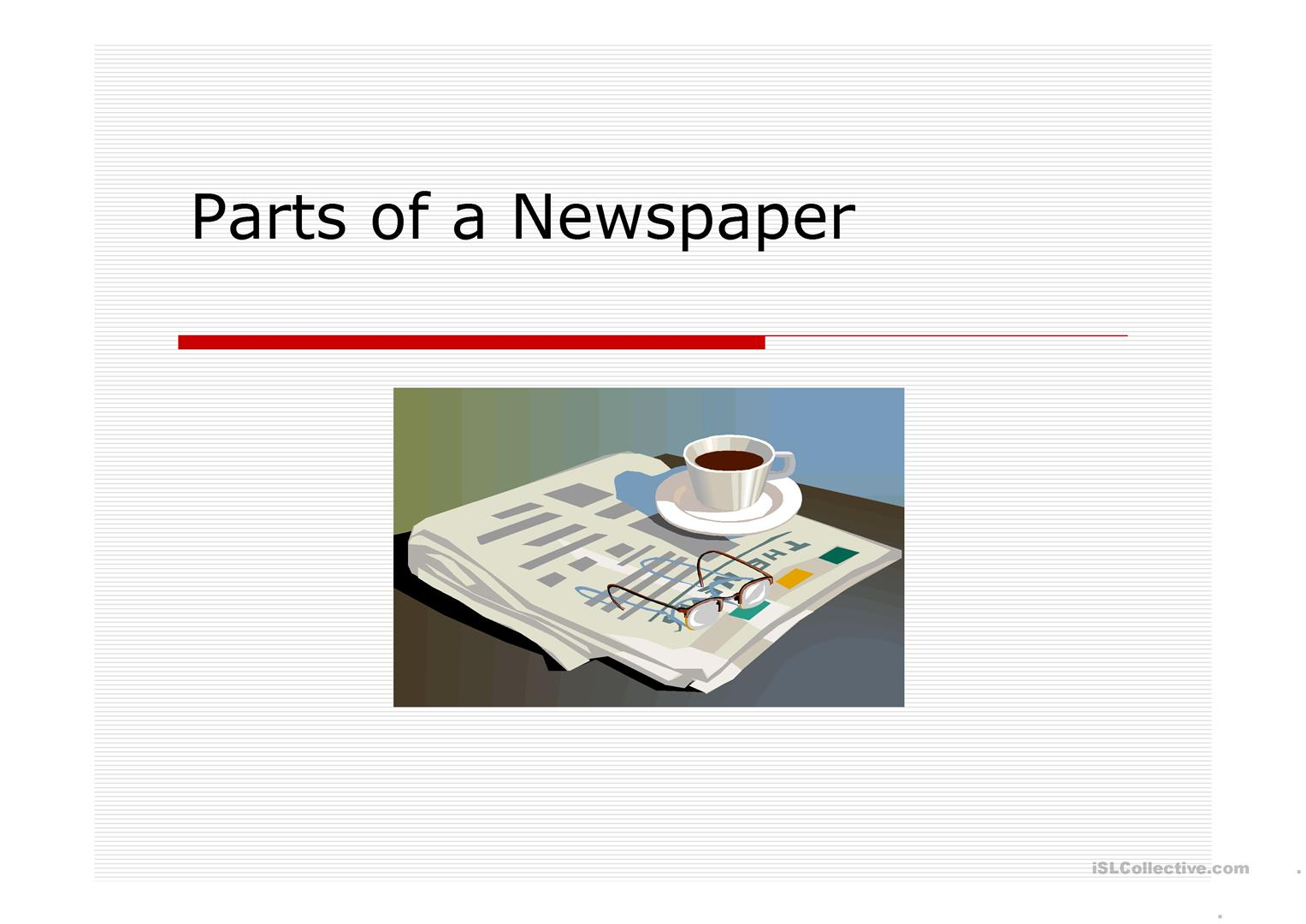 Parts Of The Newspaper Worksheet
